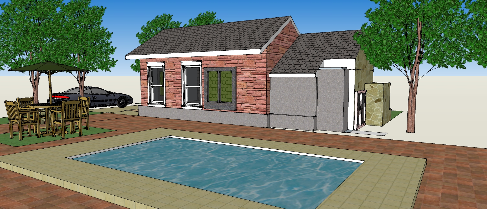 V ray rendering for sketchup joe larano arts architecture for Sample house